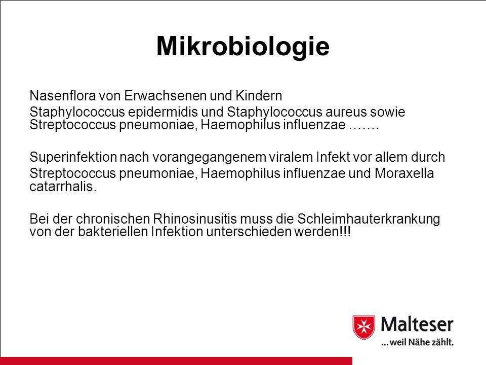 Mikrobiologie Nasenflora von Erwachsenen und Kindern Staphylococcus epidermidis und Staphylococcus aureus sowie Streptococcus pneumoniae, Haemophilus