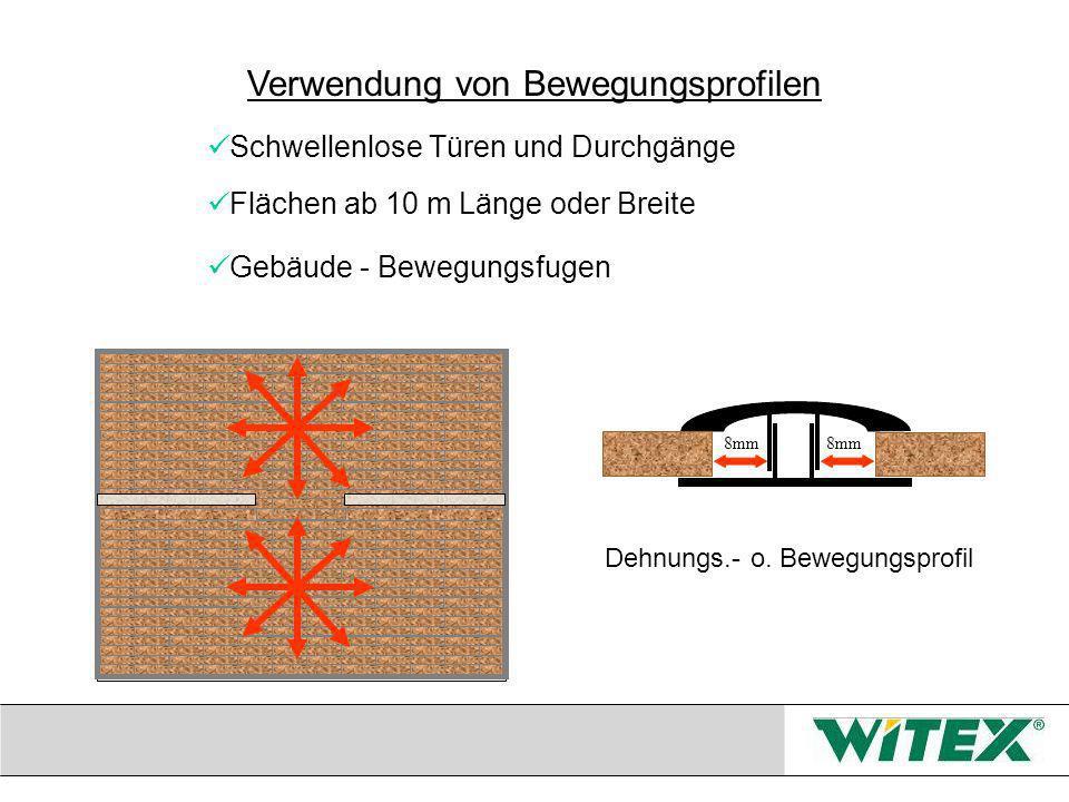 Schwellenlose Türen und Durchgänge Flächen ab 10 m Länge oder Breite Gebäude - Bewegungsfugen 8mm Dehnungs.- o.
