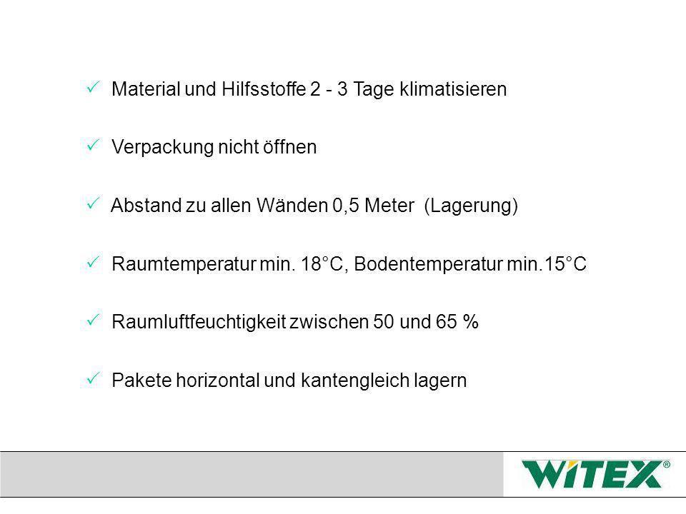 Material und Hilfsstoffe 2 - 3 Tage klimatisieren Verpackung nicht öffnen Abstand zu allen Wänden 0,5 Meter (Lagerung) Raumtemperatur min.