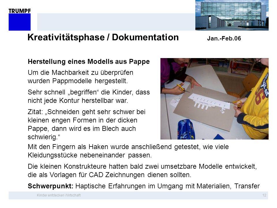 Kinder entdecken Wirtschaft11 Kreativitätsphase / Dokumentation Jan.-Feb.06 Jedes Kind wählte ein Bild; das Bild der eigenen Gruppe durfte nicht gewäh