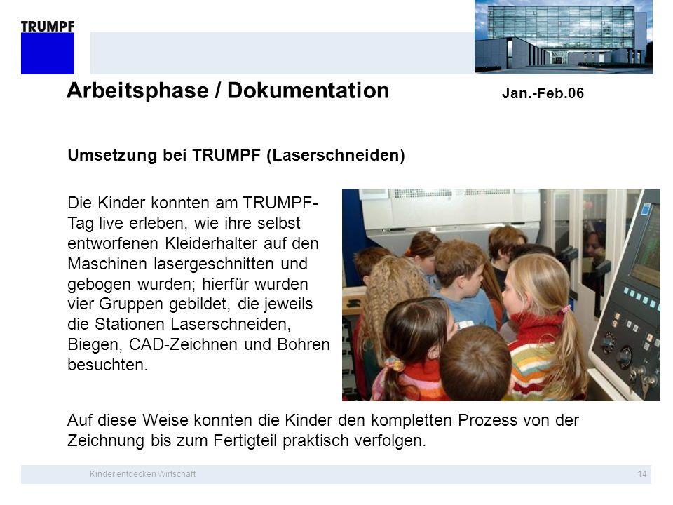 Kinder entdecken Wirtschaft13 Arbeitsphase / Dokumentation Jan.-Feb.06 Umsetzung bei TRUMPF Kleiderhalter werden auf Lasermaschine geschnitten Kinder