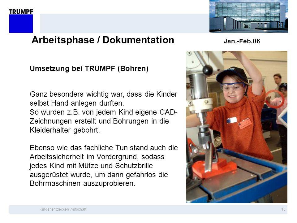 Kinder entdecken Wirtschaft14 Arbeitsphase / Dokumentation Jan.-Feb.06 Umsetzung bei TRUMPF (Laserschneiden) Auf diese Weise konnten die Kinder den ko