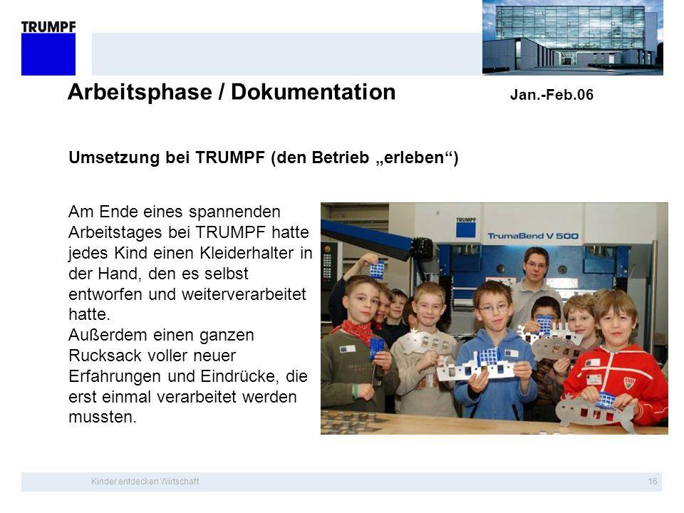 Kinder entdecken Wirtschaft15 Arbeitsphase / Dokumentation Jan.-Feb.06 Umsetzung bei TRUMPF (Bohren) Ganz besonders wichtig war, dass die Kinder selbs
