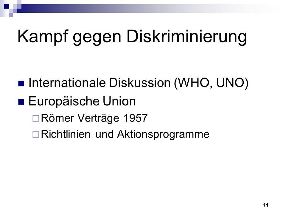 11 Kampf gegen Diskriminierung Internationale Diskussion (WHO, UNO) Europäische Union Römer Verträge 1957 Richtlinien und Aktionsprogramme