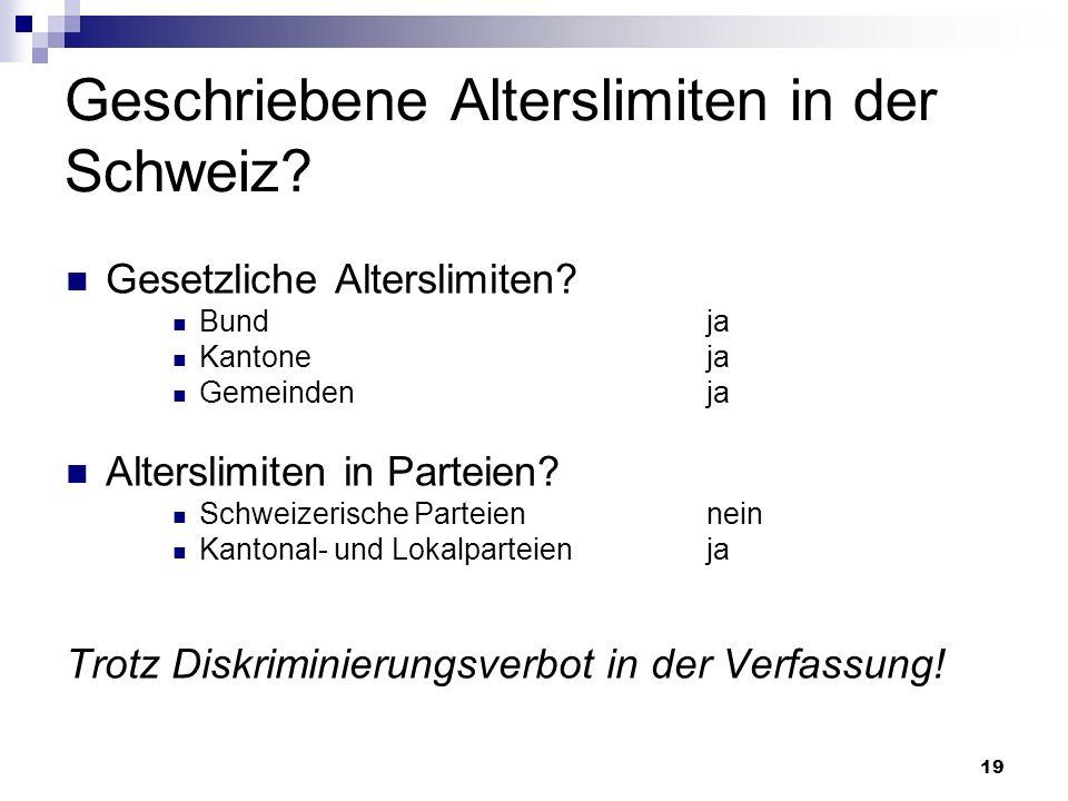 19 Geschriebene Alterslimiten in der Schweiz? Gesetzliche Alterslimiten? Bundja Kantoneja Gemeindenja Alterslimiten in Parteien? Schweizerische Partei