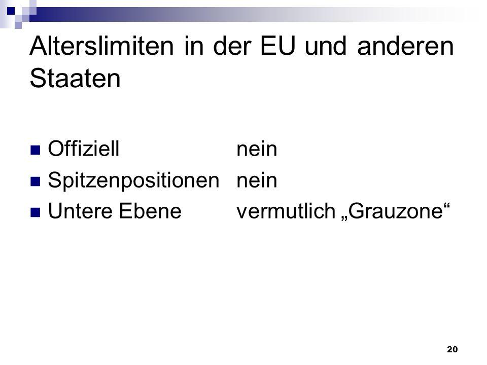 20 Alterslimiten in der EU und anderen Staaten Offiziell nein Spitzenpositionen nein Untere Ebene vermutlich Grauzone