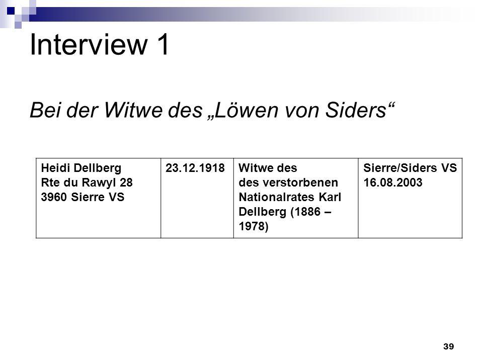 39 Interview 1 Bei der Witwe des Löwen von Siders Heidi Dellberg Rte du Rawyl 28 3960 Sierre VS 23.12.1918Witwe des des verstorbenen Nationalrates Kar