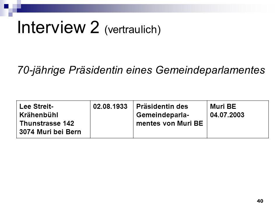 40 Interview 2 (vertraulich) 70-jährige Präsidentin eines Gemeindeparlamentes Lee Streit- Krähenbühl Thunstrasse 142 3074 Muri bei Bern 02.08.1933Präs
