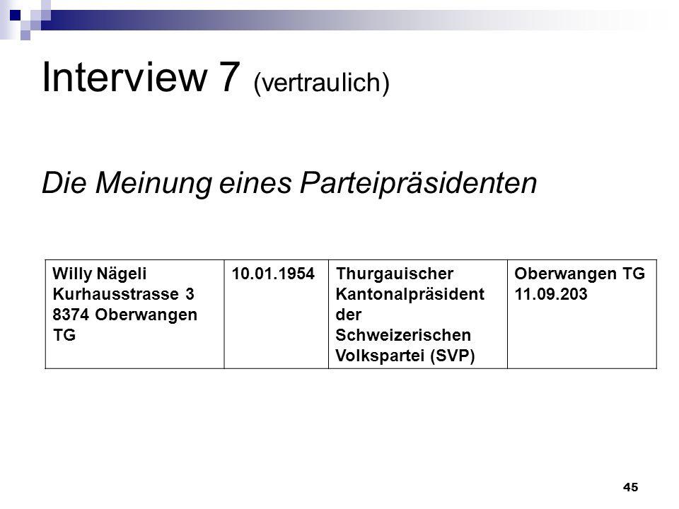 45 Interview 7 (vertraulich) Die Meinung eines Parteipräsidenten Willy Nägeli Kurhausstrasse 3 8374 Oberwangen TG 10.01.1954Thurgauischer Kantonalpräs