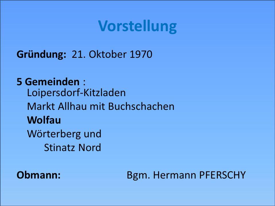 Vorstellung Gründung:21. Oktober 1970 5 Gemeinden : Loipersdorf-Kitzladen Markt Allhau mit Buchschachen Wolfau Wörterberg und Stinatz Nord Obmann:Bgm.
