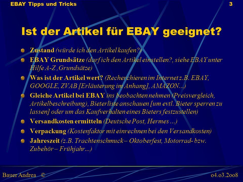 Ist der Artikel für EBAY geeignet.