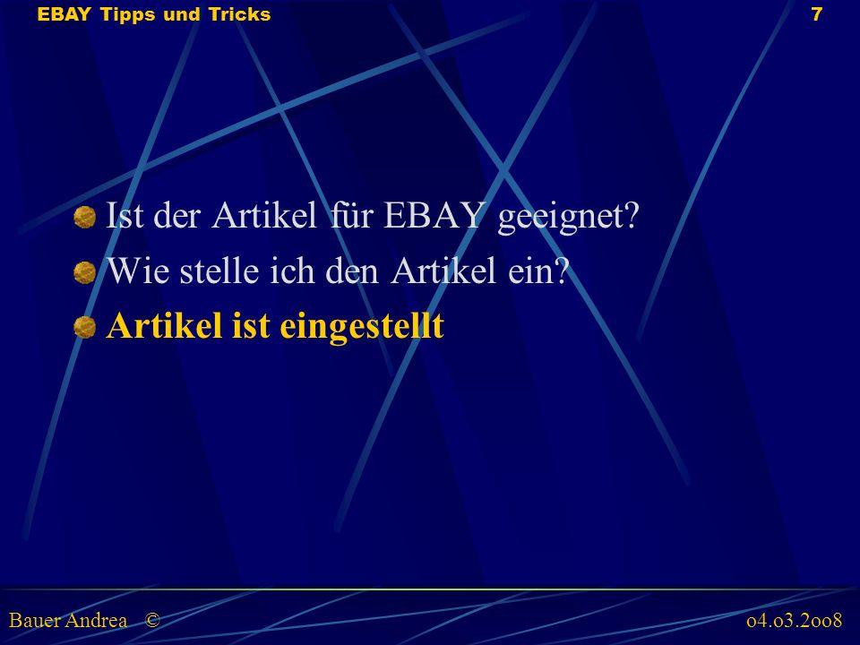 Artikel ist eingestellt Artikel in EBAY aufrufen (unter mein EBAY, Artikel verkaufen und anschauen ob alles 1 zu 1 übertragen wurden, evtl.