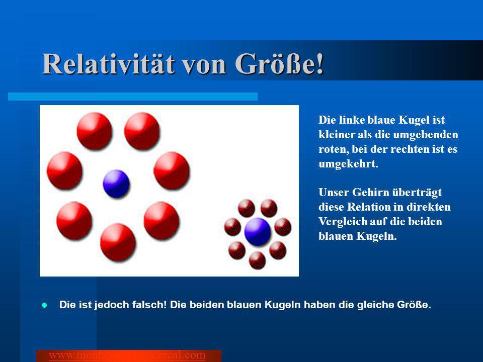 Relativität von Größe! Die ist jedoch falsch! Die beiden blauen Kugeln haben die gleiche Größe. www.montalegre-do-cercal.com Die linke blaue Kugel ist