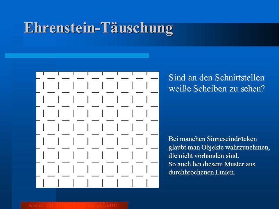 Ehrenstein-Täuschung Sind an den Schnittstellen weiße Scheiben zu sehen? Bei manchen Sinneseindrücken glaubt man Objekte wahrzunehmen, die nicht vorha