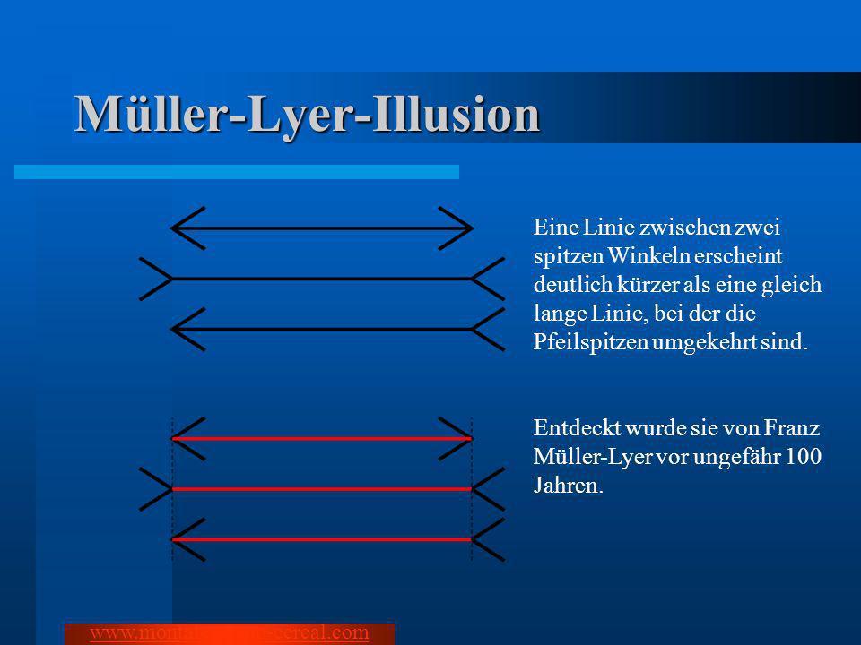Müller-Lyer-Illusion Eine Linie zwischen zwei spitzen Winkeln erscheint deutlich kürzer als eine gleich lange Linie, bei der die Pfeilspitzen umgekehr