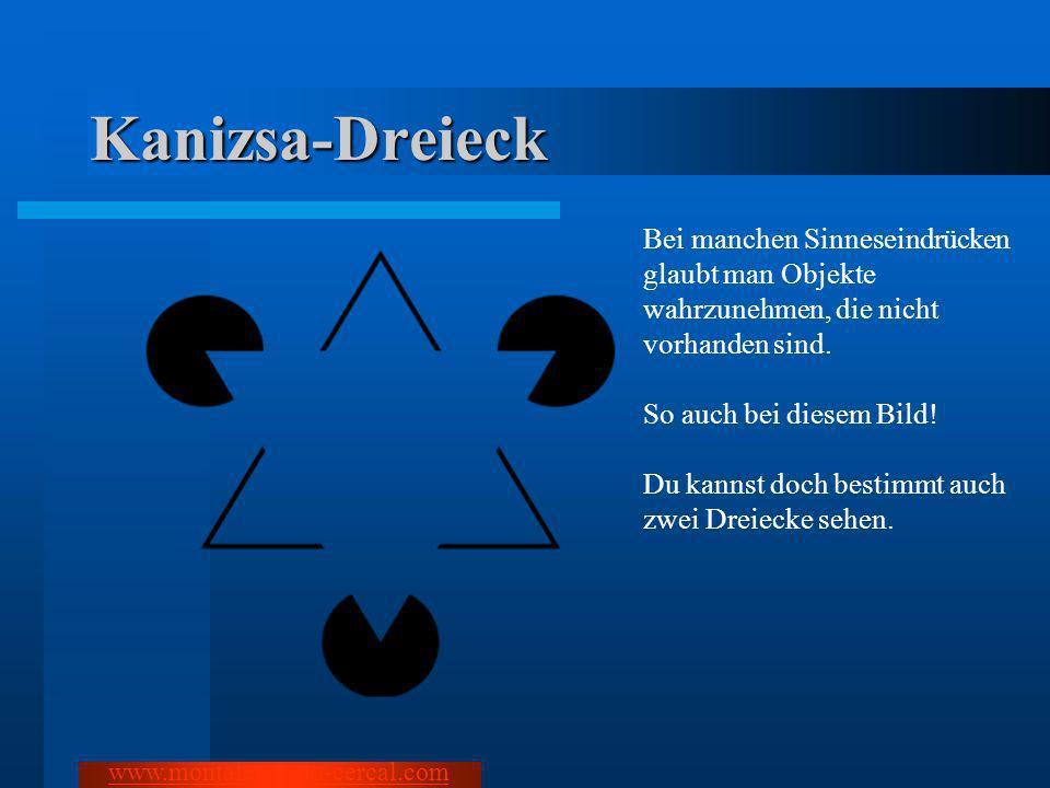 Kanizsa-Dreieck Bei manchen Sinneseindrücken glaubt man Objekte wahrzunehmen, die nicht vorhanden sind. So auch bei diesem Bild! Du kannst doch bestim