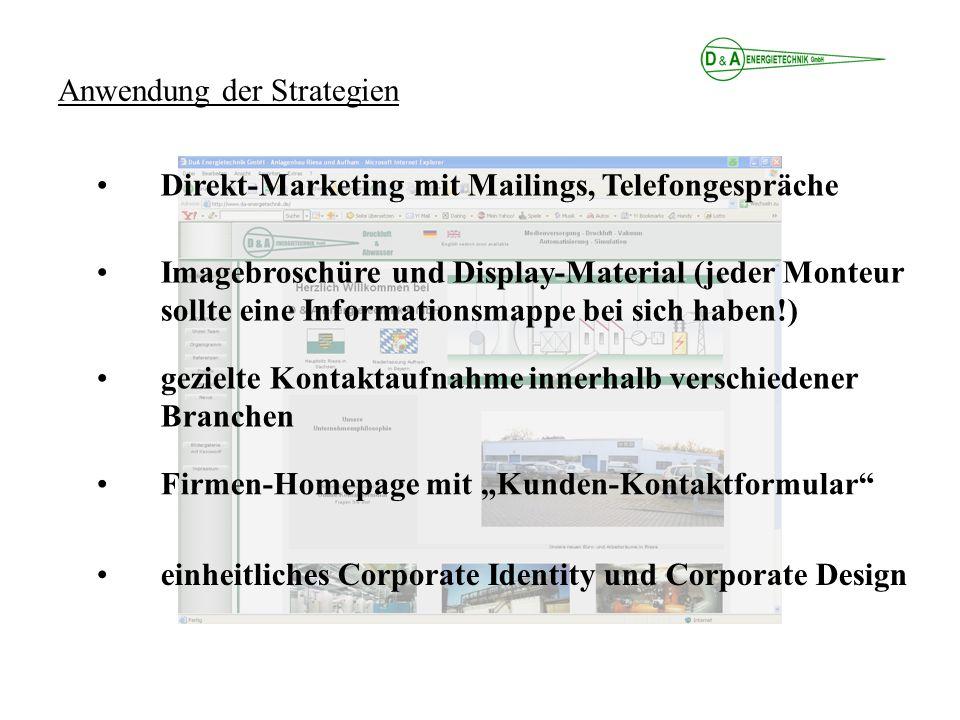 Anwendung der Strategien Direkt-Marketing mit Mailings, Telefongespräche Imagebroschüre und Display-Material (jeder Monteur sollte eine Informationsmappe bei sich haben!) gezielte Kontaktaufnahme innerhalb verschiedener Branchen einheitliches Corporate Identity und Corporate Design Firmen-Homepage mit Kunden-Kontaktformular