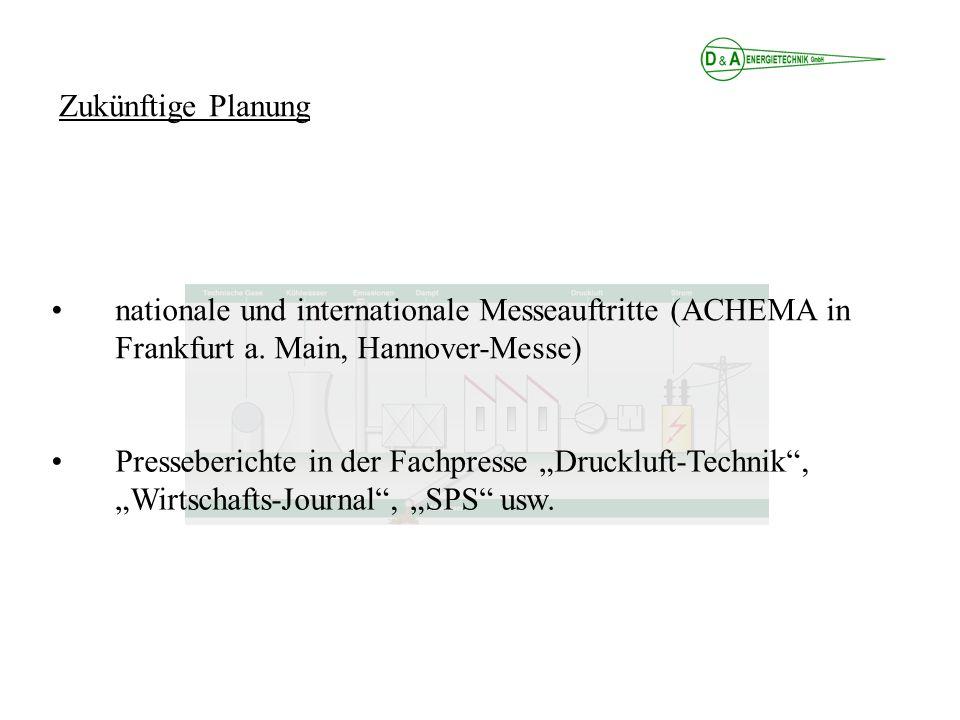 nationale und internationale Messeauftritte (ACHEMA in Frankfurt a. Main, Hannover-Messe) Presseberichte in der Fachpresse Druckluft-Technik, Wirtscha
