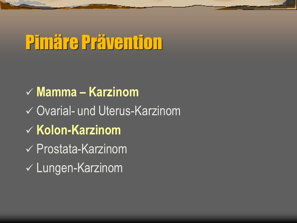 Mamma – Karzinom Ovarial- und Uterus-Karzinom Kolon-Karzinom Prostata-Karzinom Lungen-Karzinom Pimäre Prävention