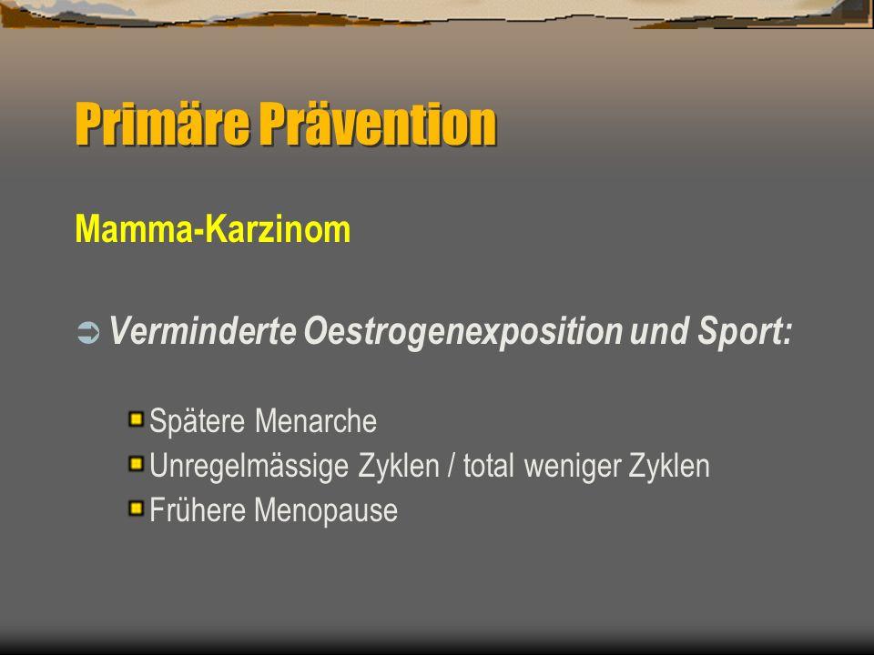 Mamma-Karzinom Verminderte Oestrogenexposition und Sport: Spätere Menarche Unregelmässige Zyklen / total weniger Zyklen Frühere Menopause Primäre Präv