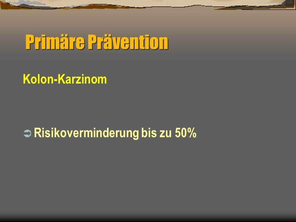 Kolon-Karzinom Risikoverminderung bis zu 50% Primäre Prävention