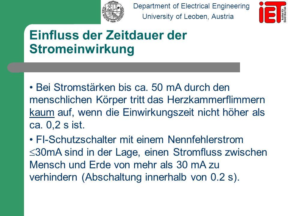 Department of Electrical Engineering University of Leoben, Austria Einfluss der Zeitdauer der Stromeinwirkung Bei Stromstärken bis ca. 50 mA durch den