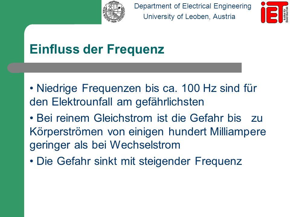Department of Electrical Engineering University of Leoben, Austria Einfluss der Frequenz Niedrige Frequenzen bis ca. 100 Hz sind für den Elektrounfall