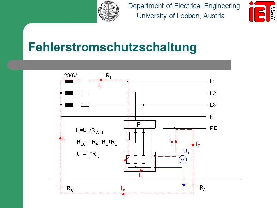 Department of Electrical Engineering University of Leoben, Austria Berührungsspannung Die Berührungsspannung U T ist jene Spannung, die am menschlichen Körper auftritt wenn dieser vom Strom durchflossen wird.