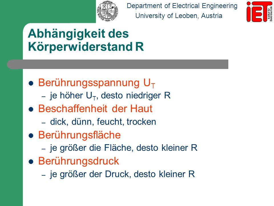 Department of Electrical Engineering University of Leoben, Austria Abhängigkeit des Körperwiderstand R Berührungsspannung U T – je höher U T, desto ni