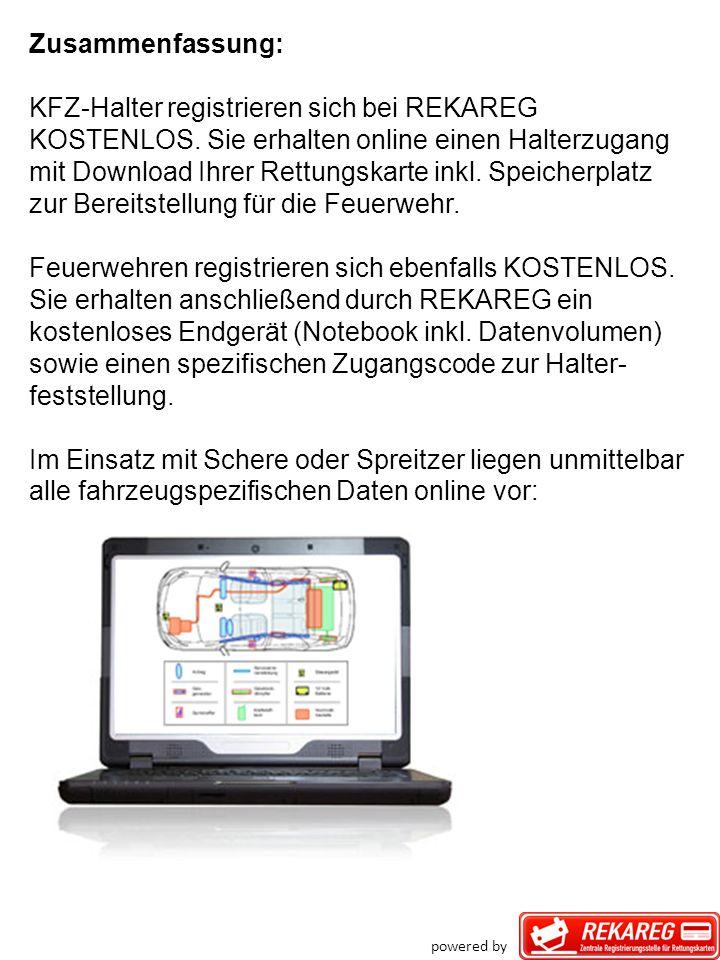 Zusammenfassung: KFZ-Halter registrieren sich bei REKAREG KOSTENLOS. Sie erhalten online einen Halterzugang mit Download Ihrer Rettungskarte inkl. Spe