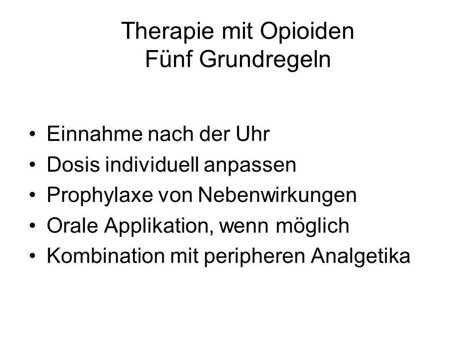 Therapie mit Opioiden Fünf Grundregeln Einnahme nach der Uhr Dosis individuell anpassen Prophylaxe von Nebenwirkungen Orale Applikation, wenn möglich