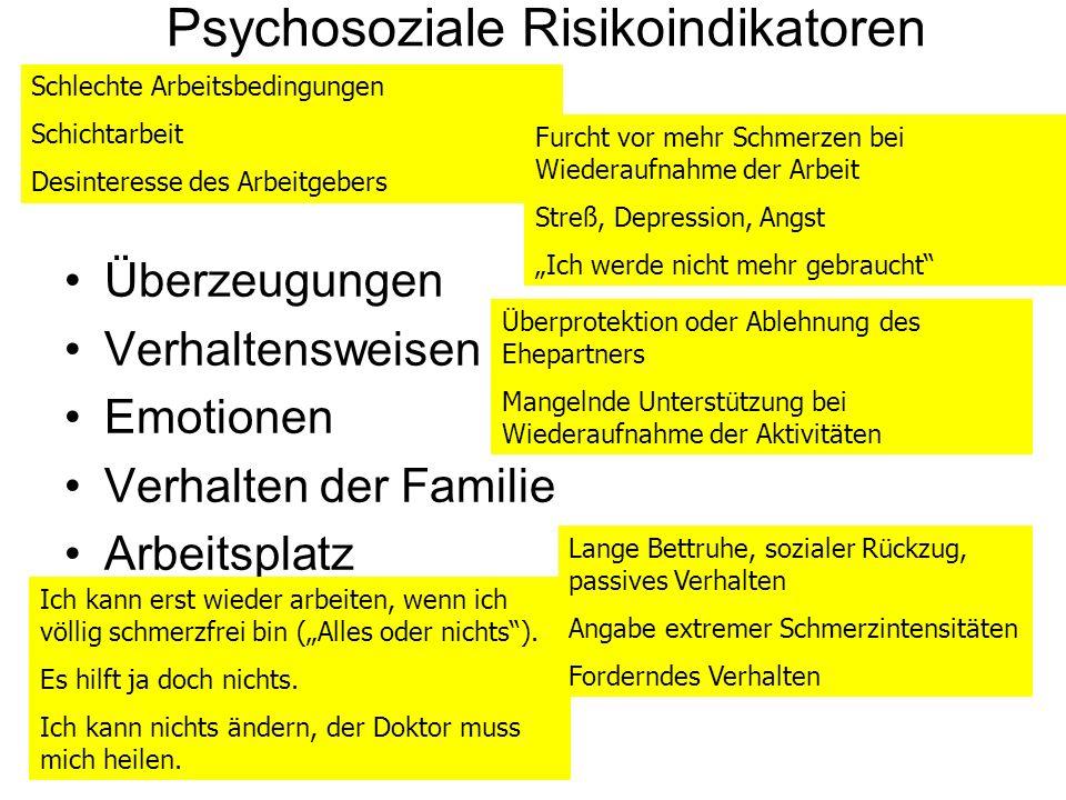 Psychosoziale Risikoindikatoren Überzeugungen Verhaltensweisen Emotionen Verhalten der Familie Arbeitsplatz Ich kann erst wieder arbeiten, wenn ich vö