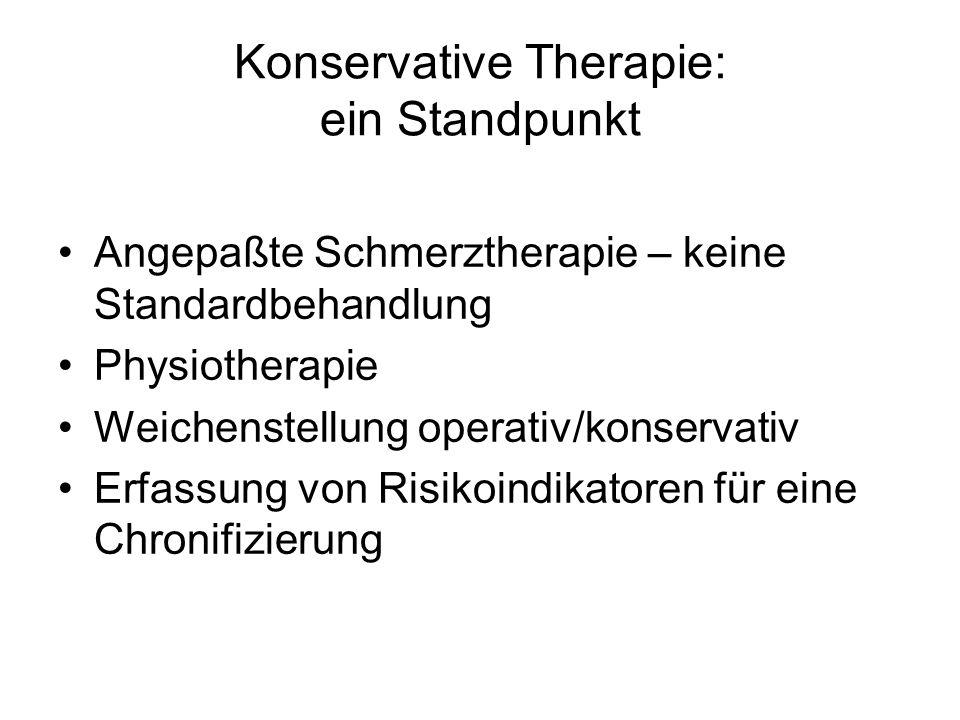 Konservative Therapie: ein Standpunkt Angepaßte Schmerztherapie – keine Standardbehandlung Physiotherapie Weichenstellung operativ/konservativ Erfassu