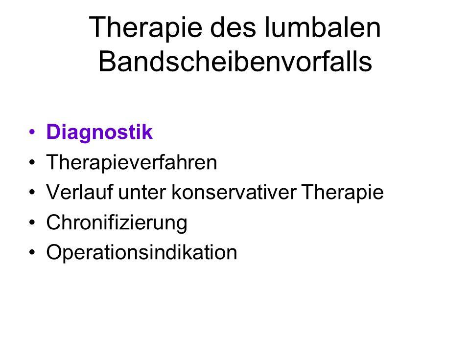 Therapie des lumbalen Bandscheibenvorfalls Diagnostik Therapieverfahren Verlauf unter konservativer Therapie Chronifizierung Operationsindikation