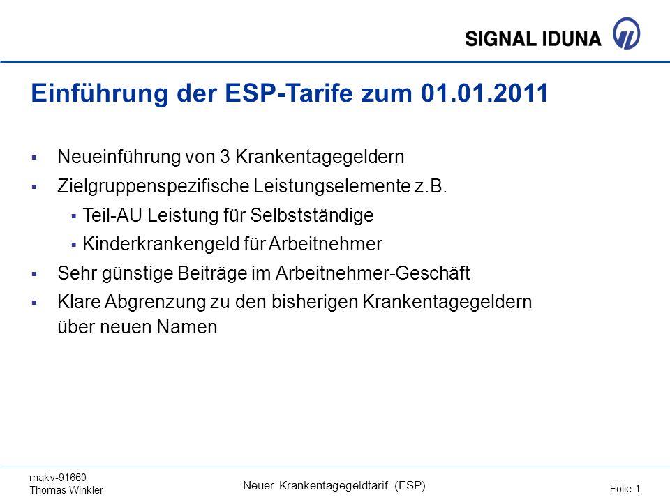 makv-91660 Thomas Winkler Folie 1 Neuer Krankentagegeldtarif (ESP) Einführung der ESP-Tarife zum 01.01.2011 Neueinführung von 3 Krankentagegeldern Zielgruppenspezifische Leistungselemente z.B.