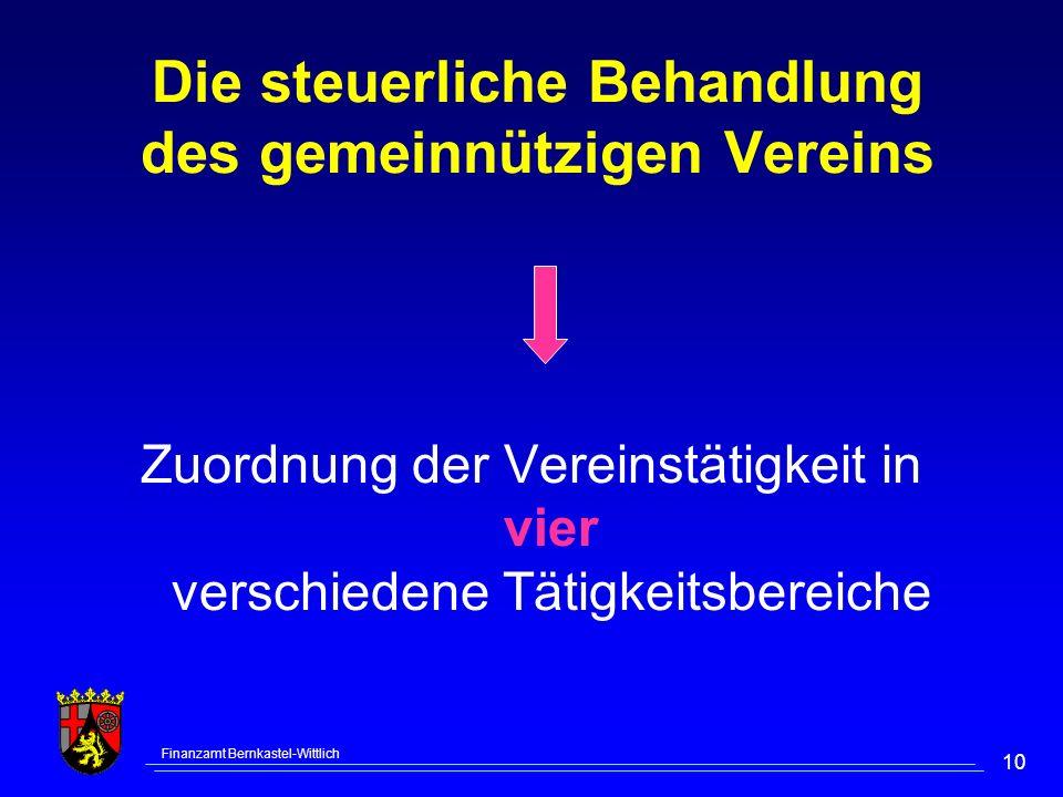 Finanzamt Bernkastel-Wittlich 10 Die steuerliche Behandlung des gemeinnützigen Vereins Zuordnung der Vereinstätigkeit in vier verschiedene Tätigkeitsbereiche