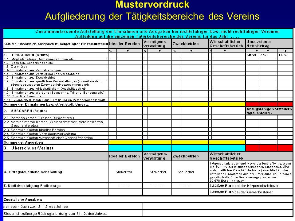 Finanzamt Bernkastel-Wittlich 12 Mustervordruck Aufgliederung der Tätigkeitsbereiche des Vereins