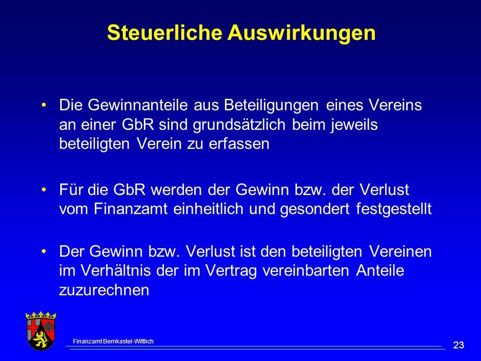 Finanzamt Bernkastel-Wittlich 23 Steuerliche Auswirkungen Die Gewinnanteile aus Beteiligungen eines Vereins an einer GbR sind grundsätzlich beim jeweils beteiligten Verein zu erfassen Für die GbR werden der Gewinn bzw.