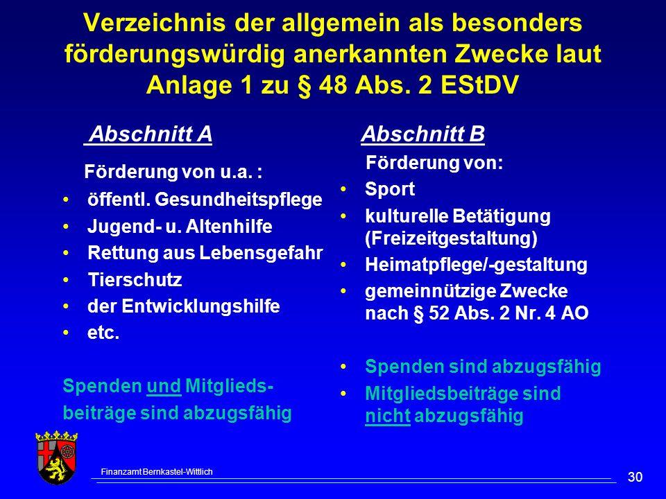 Finanzamt Bernkastel-Wittlich 30 Verzeichnis der allgemein als besonders förderungswürdig anerkannten Zwecke laut Anlage 1 zu § 48 Abs. 2 EStDV Abschn