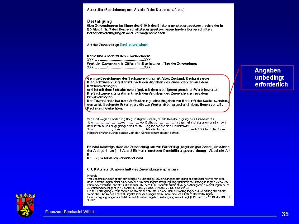 Finanzamt Bernkastel-Wittlich 35 Angaben unbedingt erforderlich