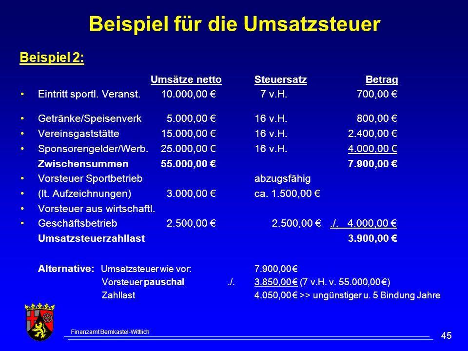 Finanzamt Bernkastel-Wittlich 45 Beispiel für die Umsatzsteuer Umsätze nettoSteuersatz Betrag Eintritt sportl. Veranst.10.000,00 7 v.H. 700,00 Getränk