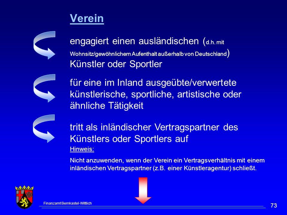Finanzamt Bernkastel-Wittlich 73 engagiert einen ausländischen ( d.h.