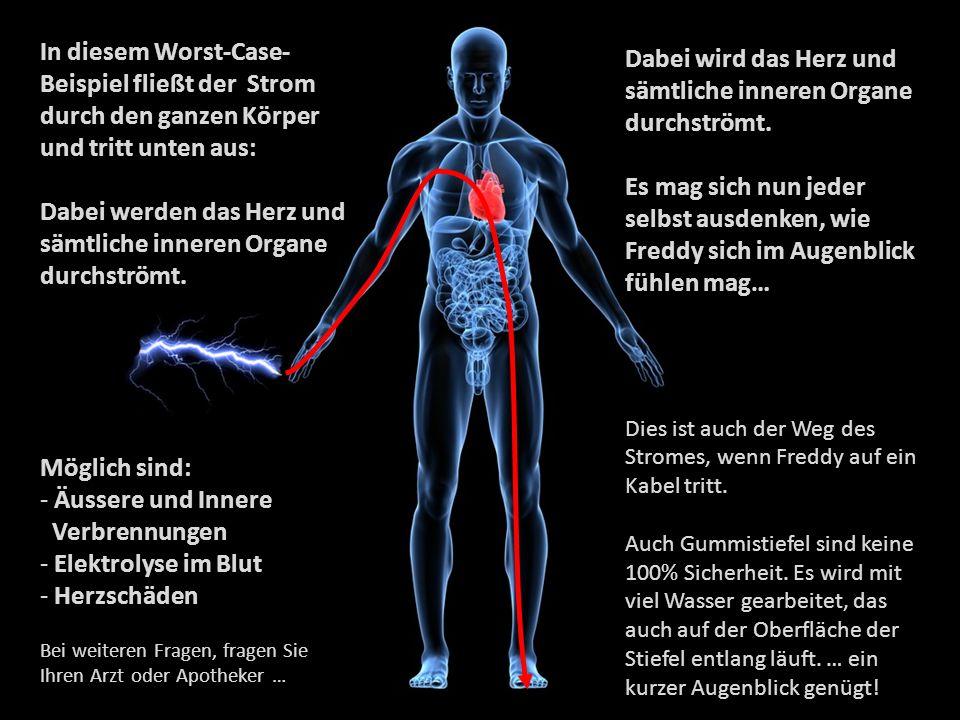 In diesem Worst-Case- Beispiel fließt der Strom durch den ganzen Körper und tritt unten aus: Dabei werden das Herz und sämtliche inneren Organe durchs