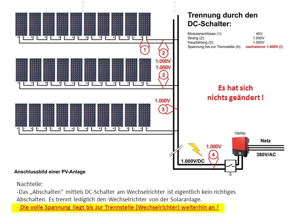 Nachteile: -Das Abschalten mittels DC-Schalter am Wechselrichter ist eigentlich kein richtiges Abschalten. Es trennt lediglich den Wechselrichter von
