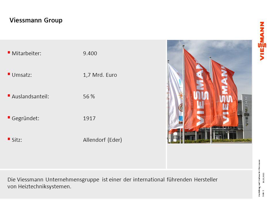 Viessmann Group Mitarbeiter:9.400 Umsatz: 1,7 Mrd. Euro Auslandsanteil:56 % Gegründet:1917 Sitz:Allendorf (Eder) Die Viessmann Unternehmensgruppe ist