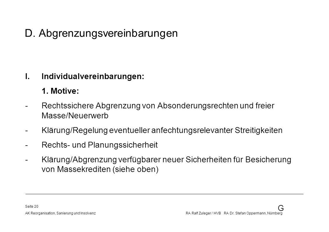 G AK Reorganisation, Sanierung und Insolvenz RA Ralf Zuleger / HVB RA Dr. Stefan Oppermann, Nürnberg Seite 20 D. Abgrenzungsvereinbarungen I.Individua