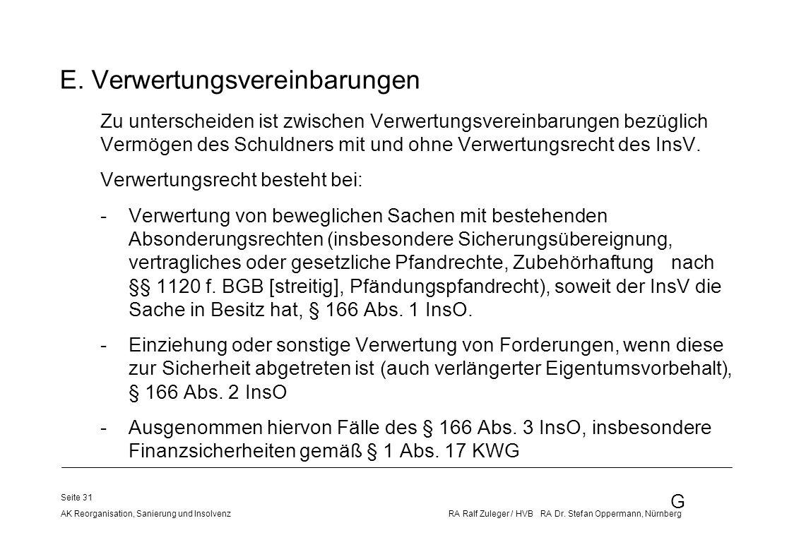 G AK Reorganisation, Sanierung und Insolvenz RA Ralf Zuleger / HVB RA Dr. Stefan Oppermann, Nürnberg Seite 31 E. Verwertungsvereinbarungen Zu untersch