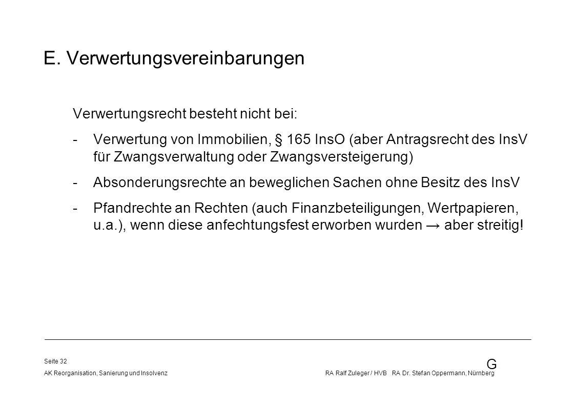 G AK Reorganisation, Sanierung und Insolvenz RA Ralf Zuleger / HVB RA Dr. Stefan Oppermann, Nürnberg Seite 32 E. Verwertungsvereinbarungen Verwertungs
