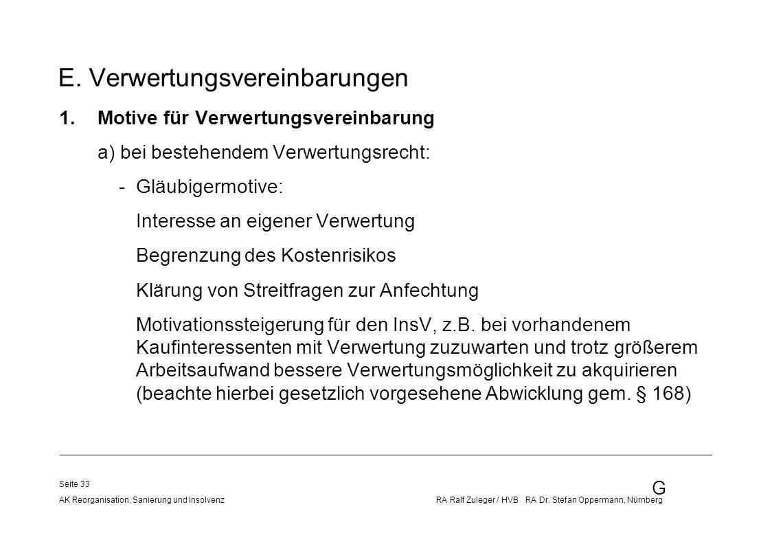 G AK Reorganisation, Sanierung und Insolvenz RA Ralf Zuleger / HVB RA Dr. Stefan Oppermann, Nürnberg Seite 33 E. Verwertungsvereinbarungen 1.Motive fü