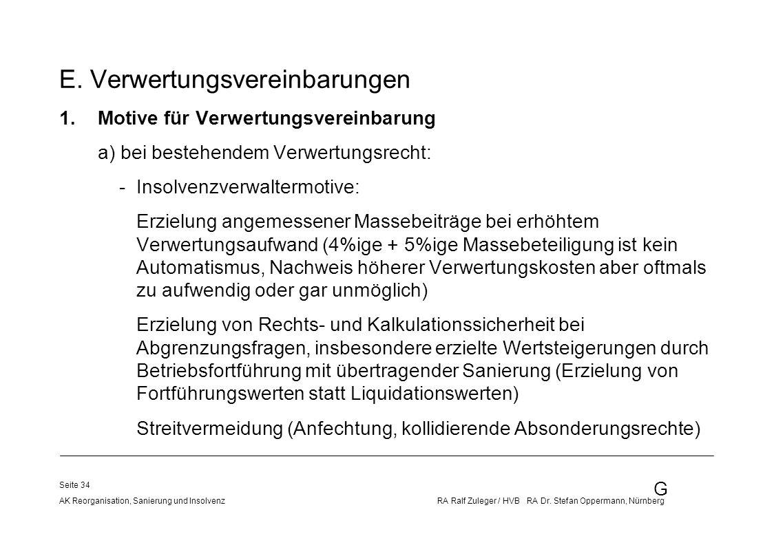 G AK Reorganisation, Sanierung und Insolvenz RA Ralf Zuleger / HVB RA Dr. Stefan Oppermann, Nürnberg Seite 34 E. Verwertungsvereinbarungen 1.Motive fü